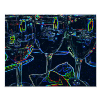 Abstract Neon Colored Outlined  Wine Glasses Poster