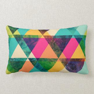 Abstract Neon Geometric Print Triangles Lumbar Pillow