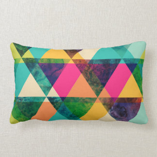 Abstract Neon Geometric Print Triangles Throw Pillow