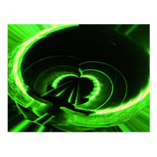 Abstract Neon Green Circle UFO Post Cards