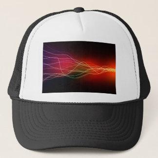 abstract neon laser flow trucker hat