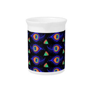 Abstract Neon Like Peacock Feather Pattern Beverage Pitchers