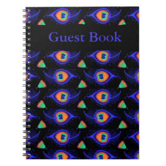 Abstract Neon Like Peacock Feather Pattern Notebook