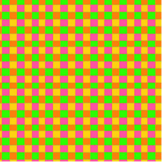 Abstract neon pink green checkered pattern cutout
