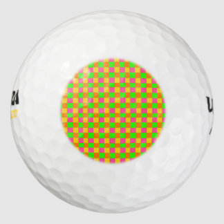 Abstract neon pink green checkered pattern golf balls