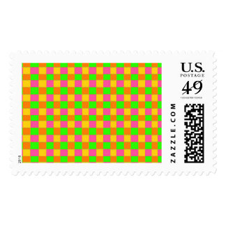 Abstract neon pink green checkered pattern postage