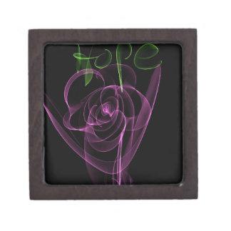 "Abstract Neon Pink Rose Green  ""Hope"" Keepsake Box"