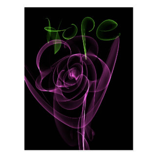 "Abstract Neon Pink Rose Green  ""Hope"" Postcard"