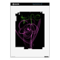 "Abstract Neon Pink Rose Green  ""Hope"" Skins For The iPad 2"