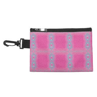 Abstract neon pink teal geometrical pattern. accessory bag