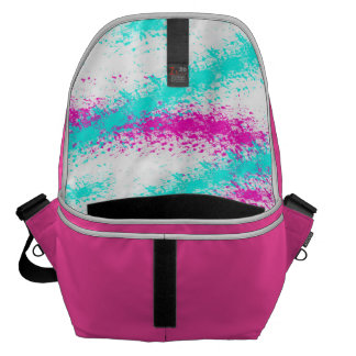 Abstract neon pink  teal watercolour stripes courier bag