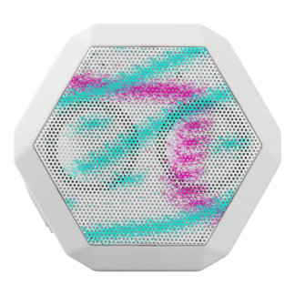 Abstract neon pink  teal watercolour stripes white bluetooth speaker