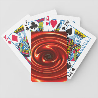 Abstract Neon Red Spinning Circles Deck Of Cards