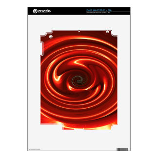 Abstract Neon Red Spinning Circles iPad 2 Skin