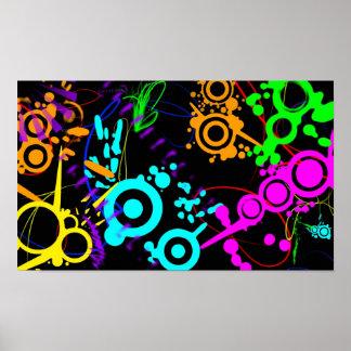Abstract neon splatter modern canvus poster