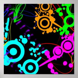 Abstract neon splatter modern poster