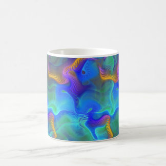 Abstract Neon Teal Blue Purple Fractal Pattern Coffee Mug