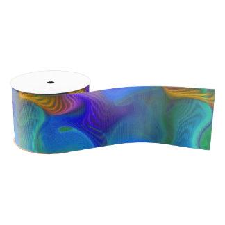Abstract Neon Teal Blue Purple Fractal Pattern Grosgrain Ribbon