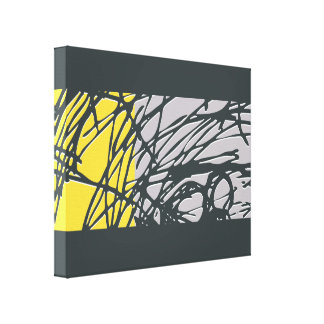 Abstract Nest design in gray and yellow Canvas Print