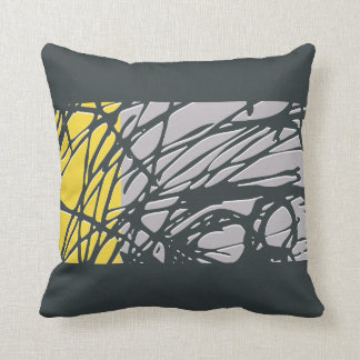 Abstract Nest design in gray and yellow Pillows