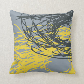 Abstract Nest design in gray and yellow Pillow
