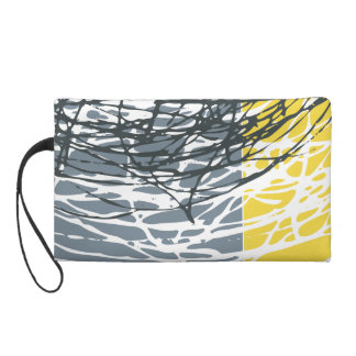 Abstract nest design in gray and yellow wristlet purse