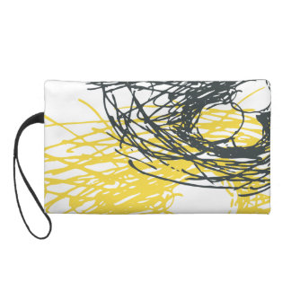 Abstract nest design in white, yellow and gray wristlet purse