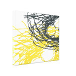 Abstract Nest in White, Gray and Yellow Canvas Print