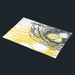 "Abstract Nest Placemat in gray and yellow<br><div class=""desc"">Abstract organic-design placemat reminiscent of a nest in white,  gray and cheerful of yellow.</div>"