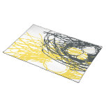 Abstract Nest Placemat in gray and yellow Cloth Placemat