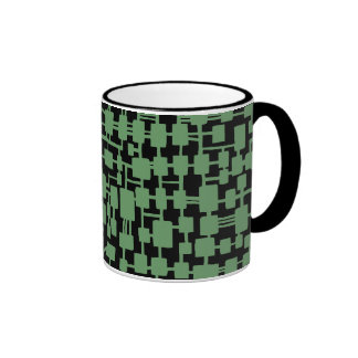 Abstract Network - Army Green on Black Ringer Mug
