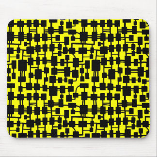 Abstract Network - Black on Yellow FFFF00 Mouse Pad