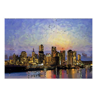 Abstract New Orleans Sunrise Print