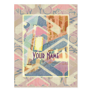 Abstract New York City Pastel Tones Times Square Postcard