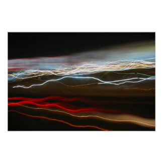 Abstract Night Time Light Trails Blur Print