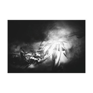 Abstract Number _15 colour - white on Black Canvas Print