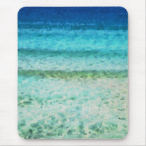 Abstract Ocean Blue Watercolor Pattern Mouse Pad