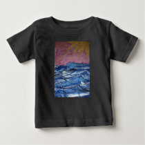 Abstract Ocean Waves and Setting Sun Baby T-Shirt
