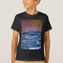 Abstract Ocean Waves and Setting Sun T-Shirt
