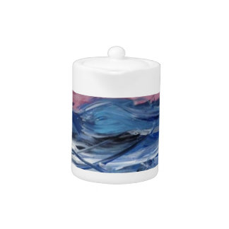 Abstract Ocean Waves and Setting Sun Teapot