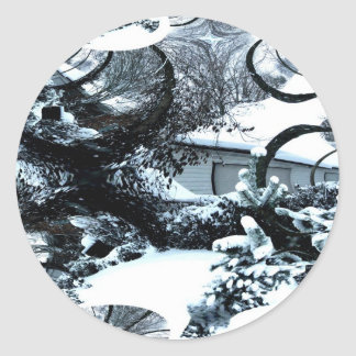 Abstract of A Cold Winter's Day Classic Round Sticker