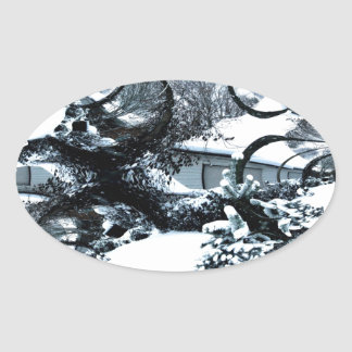Abstract of A Cold Winter's Day Oval Sticker