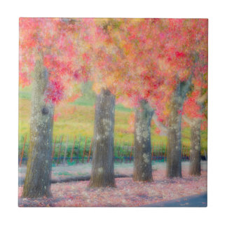 Abstract of Napa Valley trees Ceramic Tile