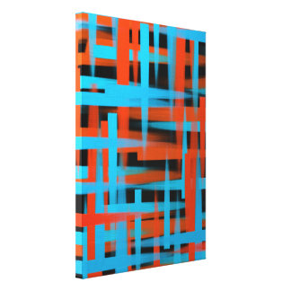 Abstract oil brush strokes in orange and blue canvas print