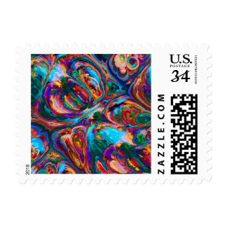 Abstract Oil Painting Inspired Postage