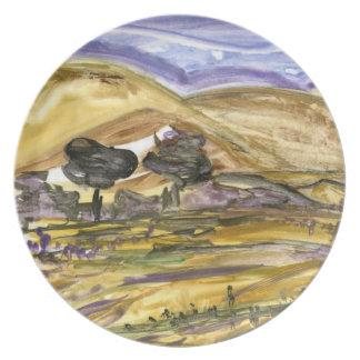 Abstract Oklahoma Farmland Rural Art Plate
