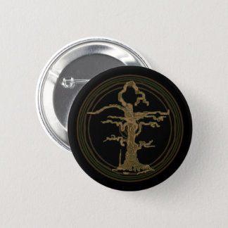 Abstract Old Withered Tree Brown Pinback Button