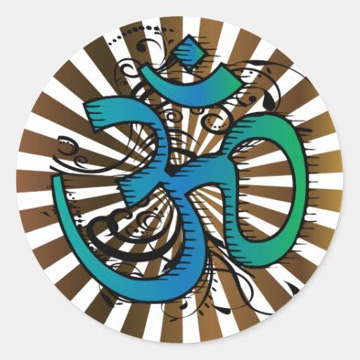 Abstract-om-4 Pegatina Redonda