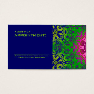 abstract ombre Fuschia green damask Business Card