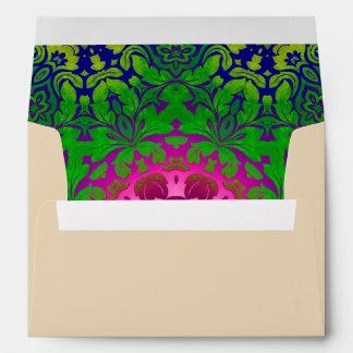 abstract ombre Fuschia green damask Envelopes